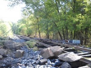 train track after flood
